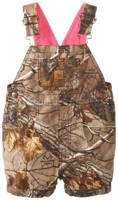 Carhartt Baby-Girls Infant Washed Camo Shortall, Real Tree XTRA Brown, 12 Months