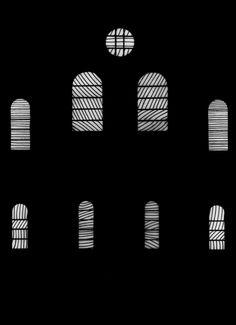 maquette vitraux -  Pierre Soulages - église abbatiale Sainte-Foy-de-Conques - 1987