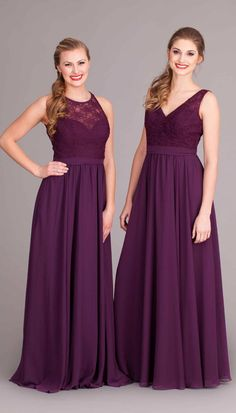 b5427bac0d06 Elegant long, lace and chiffon bridesmaid dresses in eggplant purple! |  Kennedy Blue Bridesmaid