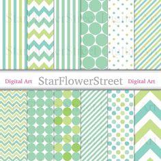 Green Digital Paper baby xmas holiday Christmas pattern scrapbook background chevron polka dot strip