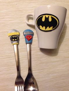 Batman superman poly clay spoon&fork