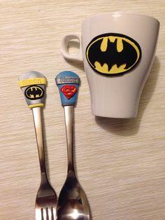 Batman superman poly clay spoon&fork