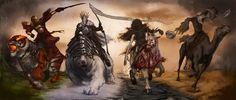 The Four Horseman of the Apocalypse are told of in the Bible as precursors to the end of mankind.  These Horsemen can be found in the New Testament in the book of Revelations in chapter 6, the Seven Seals.