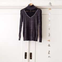 || Free People || Lace Mock Neck Charcoal grey long sleeve knit mock turtleneck with a hint of lurex throughout. Sheer mesh lace inset, knit details down sleeves, ribbed knit hems. *60% cotton, 18% rayon, 16% nylon, 6% other fibers. A subtly sexy addition to any wardrobe! Free People Tops