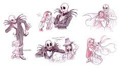 jack and sally sketches by briannacherrygarcia.deviantart.com on @deviantART