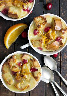 Cranberry Orange Bread Pudding with Warm Butter Sauce