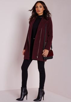 Up your coat game and look totally fierce this season in this burgundy biker coat. With on point gun metal zip asymmetric fastening to the front and exposed biker style zips to the pockets and arms this coat will ensure all eyes are on you....
