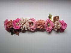 Pink Blush and Cream Felt Flower Crown with Gold by BobanaBoutique