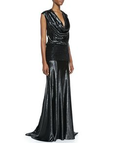 Cap-Sleeve Beaded Band Gown, Black by Carmen Marc Valvo at Bergdorf Goodman. what a beauty!
