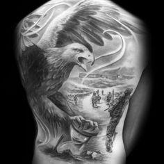 Cool Eagle Tattoo on Back