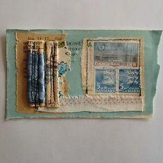 Tina Jensen Art Studio - Textile and Collage work. Art Textile, Textile Artists, Collage Artists, Mix Media, Collages, Postage Stamp Art, Envelope Art, Postcard Art, Fabric Journals