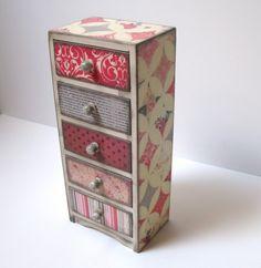Shabby Chic Pink Gray Diamonds Five Drawer Jewelry Box