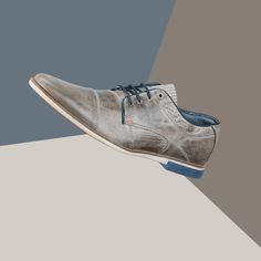 BULLBOXER SHOES MEN GREY OXFORD WITH BLUE SOLE | Bullboxer Shoes