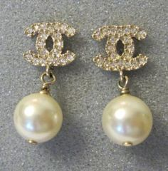Chanel Gold Crystal Earrings CC Pearl Drop Dangled Authentic New
