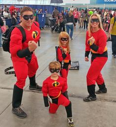 """The Incredibles - some great family cosplay from one of my favorite animated movies. """"No capes!"""" I asked the boy if those were his real muscles, and he said they were not. Gotta' admire his self-awareness."""