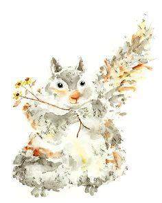 nursery decor watercolor painting squirrel by LightheartedDreamer, $17.00