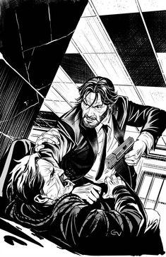 John Wick cover inks by Art And Illustration, John Wick, Comic Books Art, Comic Art, Manga Art, Anime Art, Character Art, Character Design, Graphic Novel Art