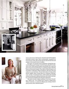 """I love the clear glass chandeliers I have been seeing lately!  The February March 2014 Traditional Home magazine shows the beautiful home of Suzanne Kipp. I just LOVE the kitchen!      """"Enhanced by a pair of elegant crystal chandeliers, the all white kitchen exudes glamour.""""     Traditional Home February March 2014"""
