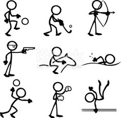 Stickfigures doing a variety of sporting activities.