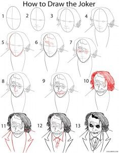 How to Draw the Joker Step by Step Drawing Tutorial with Pictures | Cool2bKids