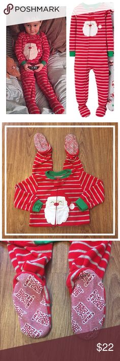 """Carter's 2T Santa 🎅🏽 soft fleece footed pajamas 📦Same day shipping (excluding Sun/holidays or orders placed after P.O. Closed) ❤️Save on shipping: Add all of your """"likes"""" to a bundle and submit an offer  Your little elf will be snuggly warm and styling in these cozy fleece footed 2T pajamas from Carter's. 🎅🏽They feature the grips on the bottom of the feet to help to avoid slipping. They zip all the way down for easy on/off with a button closure at the top of the zipper. Worn twice. No…"""