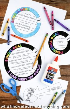 A goal setting craftivity that allows students to artfully express the goals that they set for themselves throughout the year. It comes with a variety of options and can be used at any time of the year. setting for kids printables student Elementary School Counselor, School Counseling, Elementary Schools, Teaching Reading, Teaching Kids, Importance Of Time Management, Learning Goals, Online Programs, Craft Activities