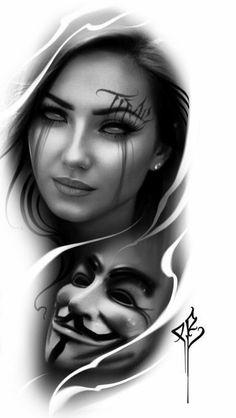Skull Girl Tattoo, Girl Face Tattoo, Face Tattoos, Skull Tattoos, Body Art Tattoos, Girl Tattoos, Tattoos For Guys, Zombie Tattoos, Chicano Tattoos Sleeve