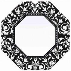 Black Damask Plates