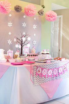 Winter Wonderland Pink Penguin Baby Shower