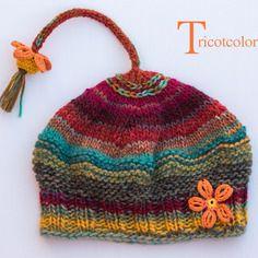 """Reserve tricot bonnet femme tricoté main en laine """" vendanges """""""