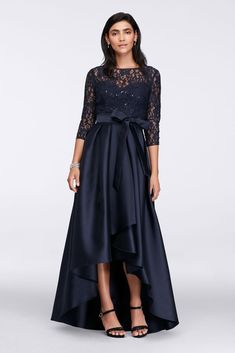 Lace Bodice High-Low Ball Mother of Bride/Groom Gown - Navy (Blue), 14
