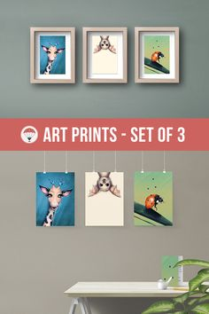 Kids Room Decor Animal Art Print Baby Shower Gift Set of 3 Peekaboo Animals Giraffe Painting Bat Print Ladybug Painting Whimsical Animals