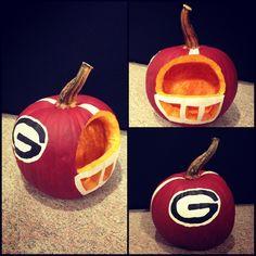 UGA football helmet pumpkin!