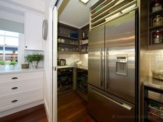 The House That AM Built: Amazing taupe kitchen walk-in pantry with taupe open shelving filled with labeled glass . Kitchen Pantry, New Kitchen, Kitchen Ideas, Pantry Ideas, Kitchen Inspiration, Kitchen Storage, Dirty Kitchen, Pantry Room, Kitchen Redo
