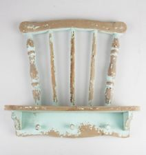 Sass and Belle SHABBY Duck Egg Blue WALL DISPLAY UNIT SHELF Hook CHIC STORAGE