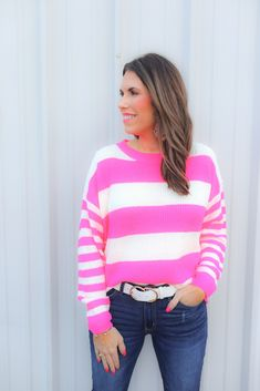 Shop Jess Lea Boutique-Shelbi Striped Lightweight Sweater   #jesslea #jessleaboutique #jessleastyle #casualstyle #momstyle #casualoutfit #easyoutfit #ootd #boutique #boutiquestyle #lightweightsweater #springsweater #pinksweater #stripedsweater #stripes #sweater #perfectsearter #casualsweater Blazer Outfits, Sweater Outfits, Casual Outfits, Chambray Top, Chambray Dress, Valentine's Day Outfit, Pink Fashion, Mom Style, Boutique Clothing