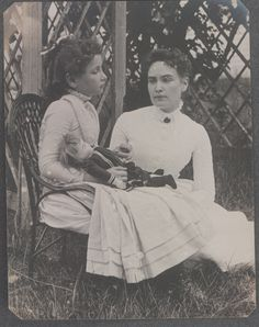 Photograph of Helen Keller at age 8 with her tutor Anne Sullivan on vacation in Brewster, Cape Cod, Massachusetts July 1888