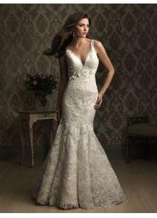 V-cuello del vestido de boda del satén ATRACTIVO naturales con la flor (s) y la cremallera párrafo arriba (MW39FB)-LuckyDressShop.com