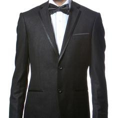 Black Tuxedo with thin satin trim on colar and pockets, 2 button 1 vent Premium #FerrecciTX1005600 #NOTCHLAPELWITHSATINTRIM