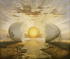 Sunrise by the ocean, by Vladimir Kush.