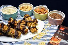 Hjemmelavet müslibar - en nem opskrift med bl.a. chokolade og mandler Rice Krispies, Cereal, Breakfast, Food, Morning Coffee, Essen, Meals, Yemek, Breakfast Cereal