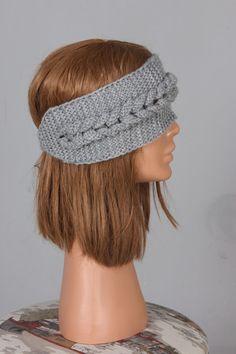 Hand knit Headband Chunky Headband Ear Warmer Cabled by pompomhats