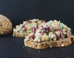 Cranberry Walnut Chickpea Salad Sandwich--some added fresh herbs would be good