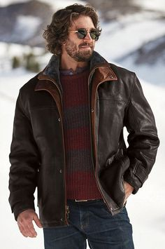 French Kildare goatskin featuring Spanish Merino shearling lining, the Jack Frost Leather Coat delivers unmatched warmth. Made in the USA. Preppy Fall Outfits, Winter Outfits Men, Work Outfits, Casual Outfits, Fashion Outfits, Night Outfits, Dress Outfits, Leather Jacket Outfits, Men's Leather Jacket