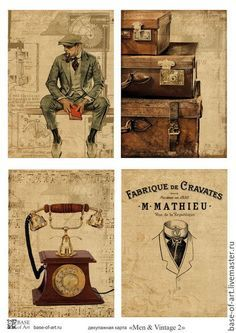 """Декупаж и роспись ручной работы. Ярмарка Мастеров - ручная работа. Купить Декупажные карты  """"Men & Vintage"""" от Base of Art. Handmade."""