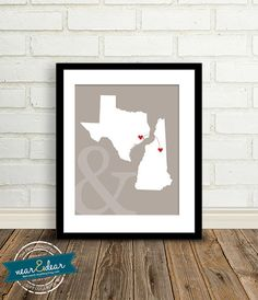 Wedding Gift - State Map : Custom Engagement Gift  - 8x10 / Bridal Shower Present - Two states, love map - Newlywed gift