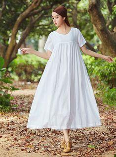 White dress, maxi linen dress, linen kaftan, long linen dress, linen dress in… White Linen Dresses, White Dress, White Linens, Kaftan, Beachwear For Women, Everyday Outfits, Beautiful Dresses, Pretty Dresses, Summer Dresses