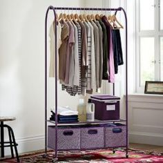 Rolling Closet Rack from PBteen. Saved to Home: Closet. Shop more products from PBteen on Wanelo. Dorm Room Storage, Dorm Room Organization, Closet Storage, Storage Spaces, Organizing, Closet Racks, Wardrobe Storage, Storage Cart, Laundry Storage