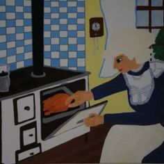 in the kitchen - Babetts Bildergalerie - The picture was painted with acrylic on canvas. in the kitchen cooking kitchen Mrs woman Canvas Print Brushed Metal, Floating Frame, Hanging Wire, Stretched Canvas Prints, Canvas Artwork, Wood Print, High Gloss, Kitchen, Drawing Pictures