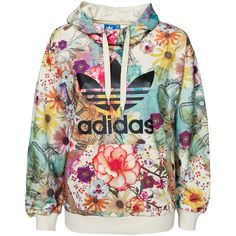 Adidas Originals Trefoil Hoodie (£70) ❤ liked on Polyvore featuring tops, hoodies, jumpers & cardigans, multicolour, womens-fashion, adidas originals hoodie, sweatshirt hoodies, patterned hoodies, hooded pullover and tall tops